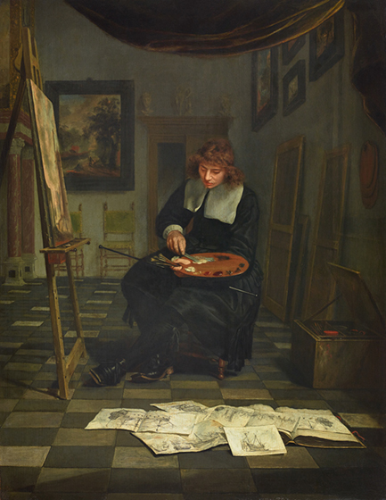 "Michiel van Musscher, ""An Artist in His Studio with His Drawings,"" 1665, oil on panel, (c) The Princely Collections, Liechtenstein 2016"