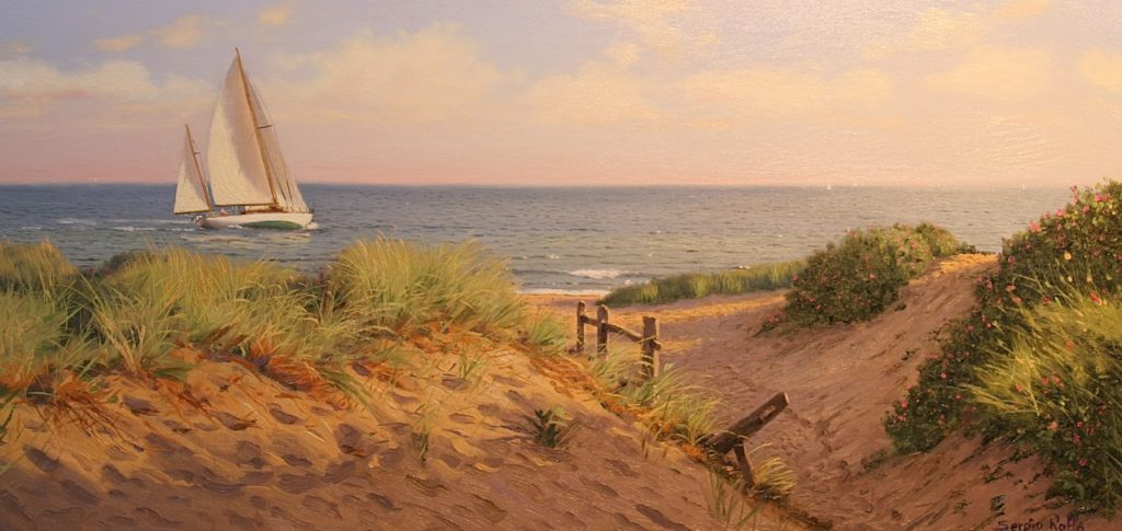 "Sergio Roffo, ""Light on the Dunes,"" oil on mounted linen, 10 x 20 in. (c) Sergio Roffo 2017"