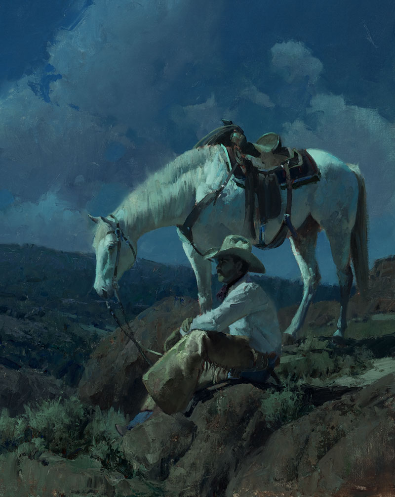 "Bill Anton, ""Under the Cowboy Moon,"" 2011, oil on linen, 30 x 24 in. private collection"