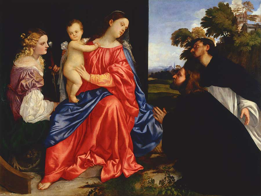 "Titian, ""Madonna and Child with Saints Catherine of Alexandria and Dominic, and a Donor,"" circa 1513, oil on canvas, 54 x 72 1/2 in. (c) Fondazione Magnani Rocca 2017"