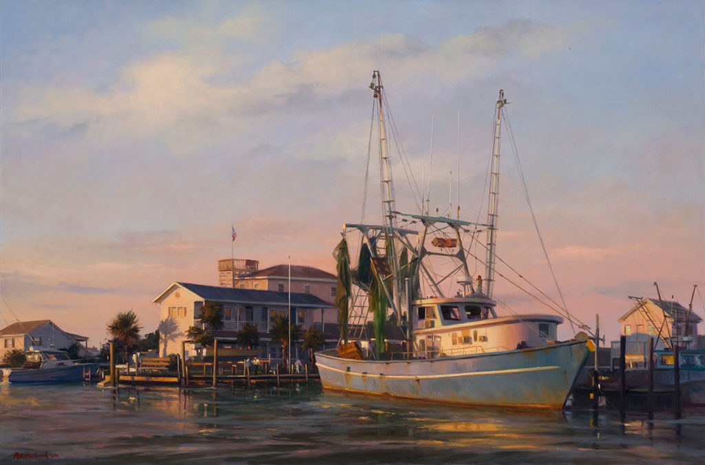 "John Pototschnik, ""Docked,"" oil on canvas, 32 x 48 in. © Southwest Gallery"