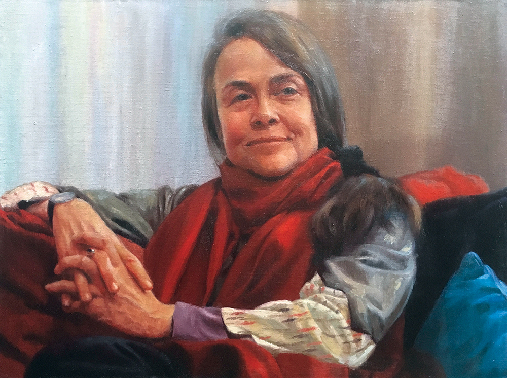 "David W. Terry (b.1958), ""Poet: Naomi Shihab Nye,"" 2017, oil on linen, 18 x 24 inches"