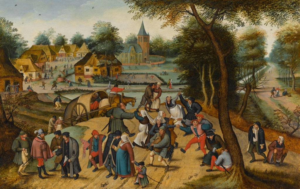 """Pieter Brueghel the Younger, """"Return from the Kermesse,"""" oil on oak panel, 19 5/8 x 31 1/8 in. (c) Sotheby's, London 2016"""