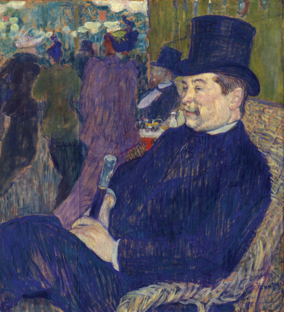 "Henri de Toulouse-Lautrec, ""M. Delaporte at the Jardin de Paris,"" 1893, gouache on cardboard/wood, 30 x 27-9/16 in. © Ny Carsberg Glyptotek, Copenhagen 2017"