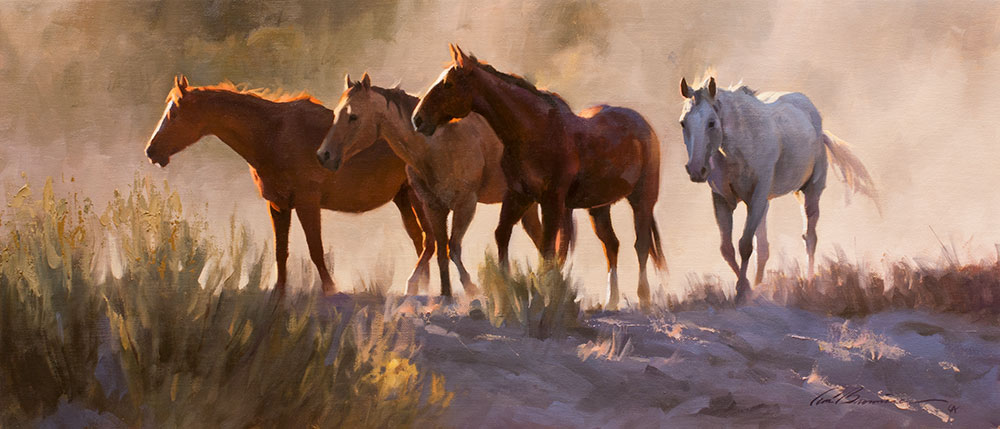 """Tom Browning, """"On the Lookout,"""" 2015, oil on canvas, 12 x 28 in. private collection"""