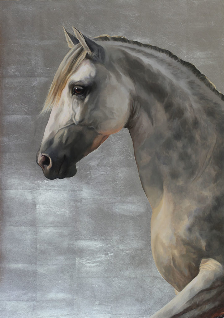 """Mary Ross Buchholz, """"Dapple Dan,"""" 2015, oil and gold leaf on panel, 28 x 20 in. private collection"""