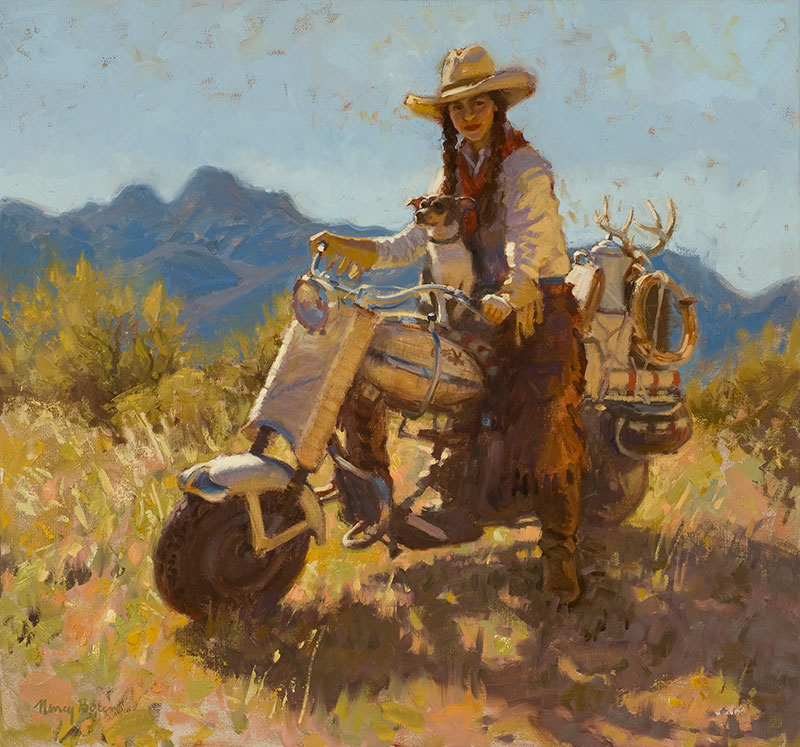 """Nancy Boren, """"Fast Track to Mustang Ridge,"""" oil on canvas, 30 x 32 in. First Place, Two-dimensional on canvas"""