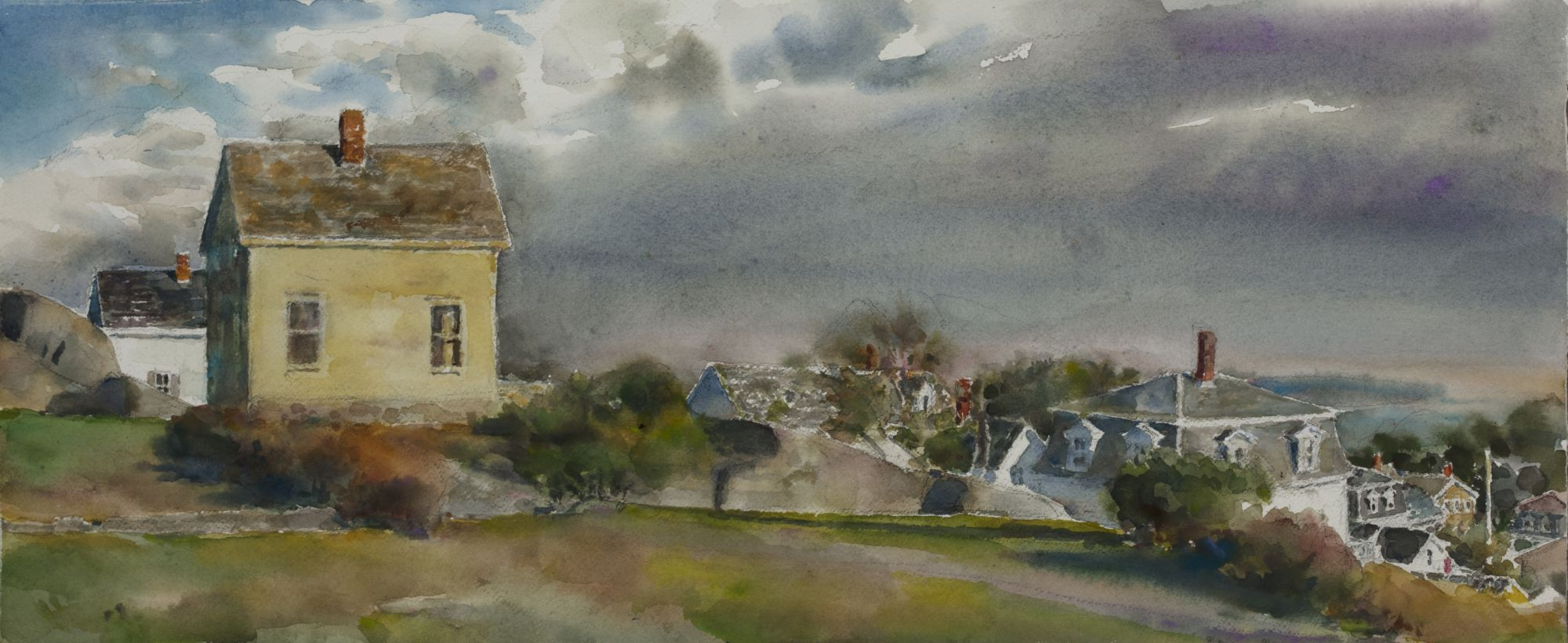 Renew watercolor artist magazine -  Clearing Storm Stonington 2017 Watercolor 11 X 24 Inches