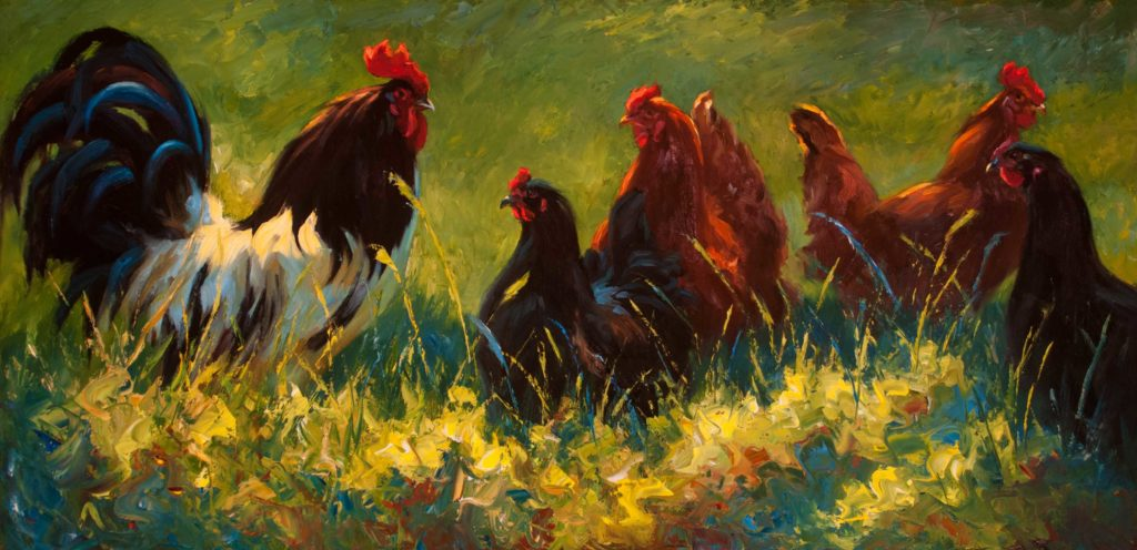 How to paint roosters - painting of chickens