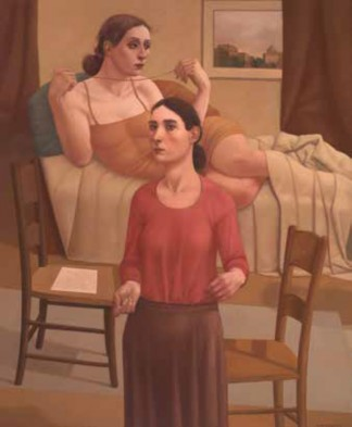 "Alan Feltus, ""The Red Ribbon,"" 2013, oil on linen, 47 1/4 x 39 1/4 in."