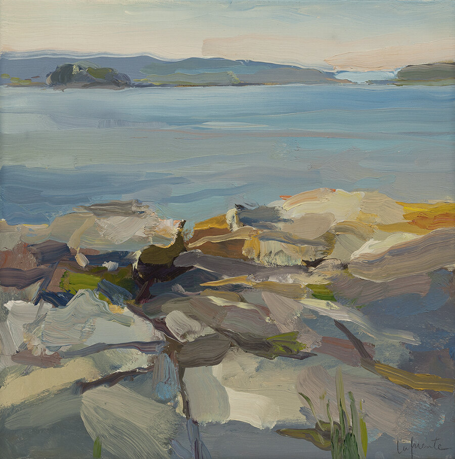 "Christine Lafuente, ""Rocky Point on the Sound,"" oil on linen, 14 x 14 in."