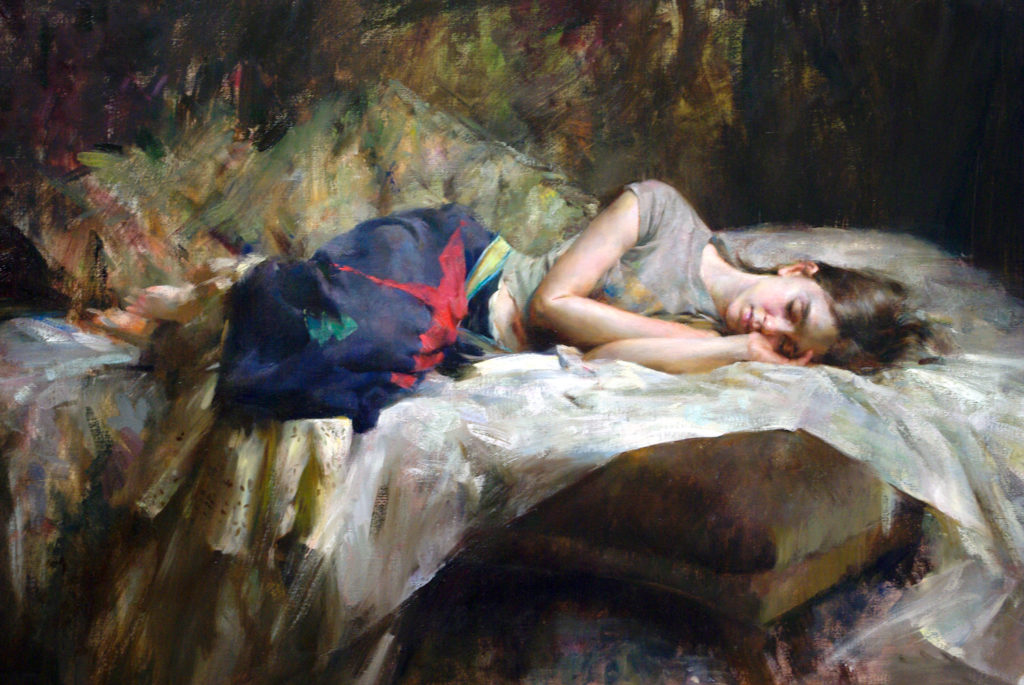 Figurative art painting of a woman lying down