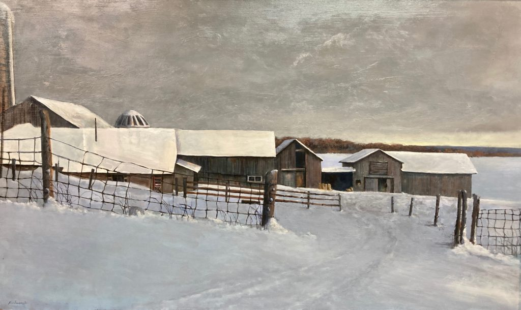Landscape painting of a rural scene