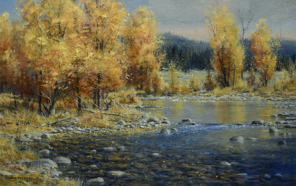Oil painting of a creek with trees in fall colors
