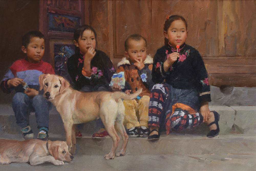 Oil painting of small children sitting on steps with their dogs