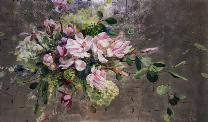 Painting of Tulip Tree and Hellebores