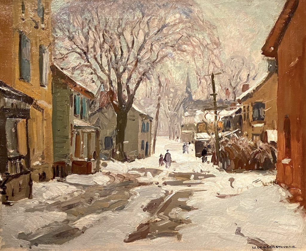 Oil painting of small town