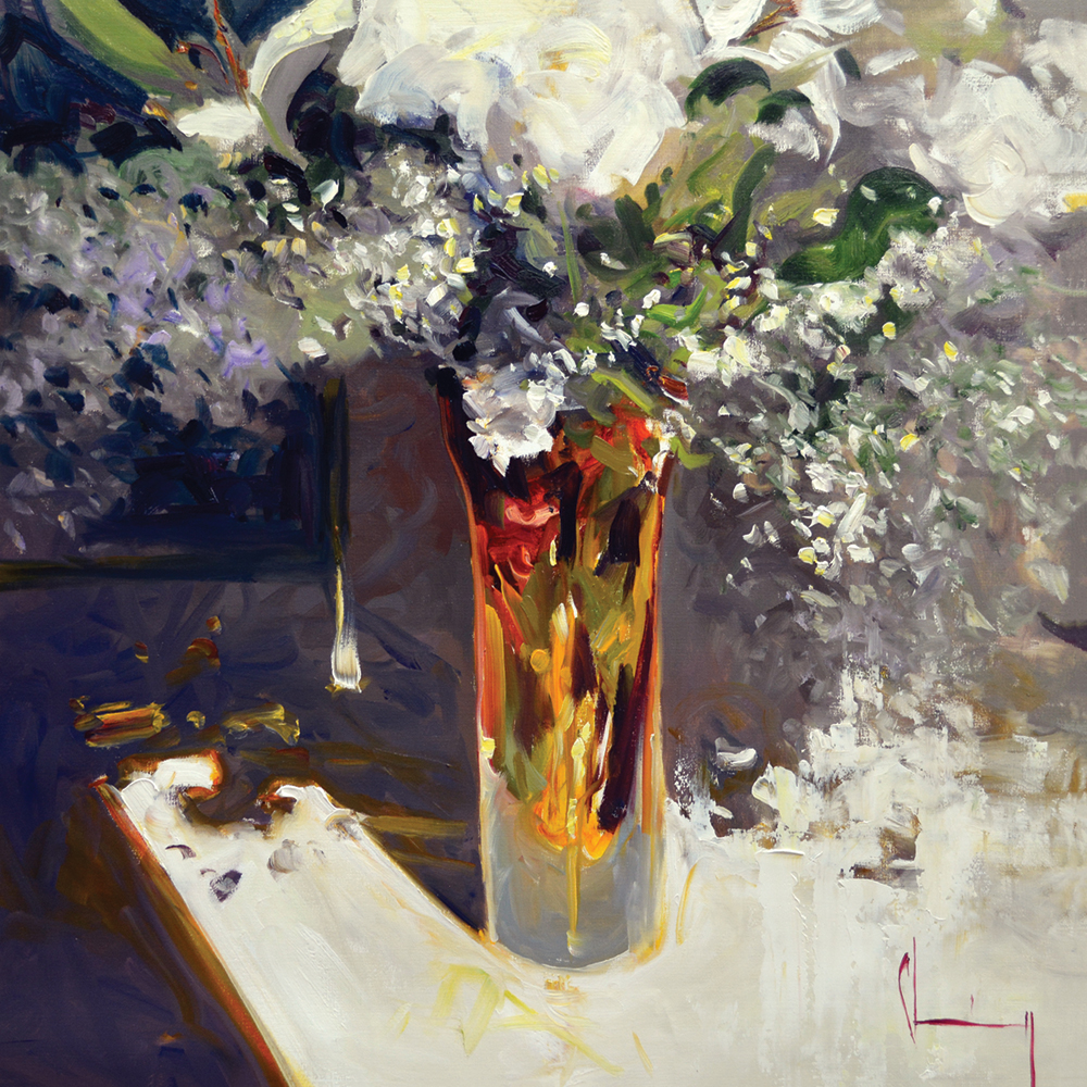 Oil painting of flowers in a vase