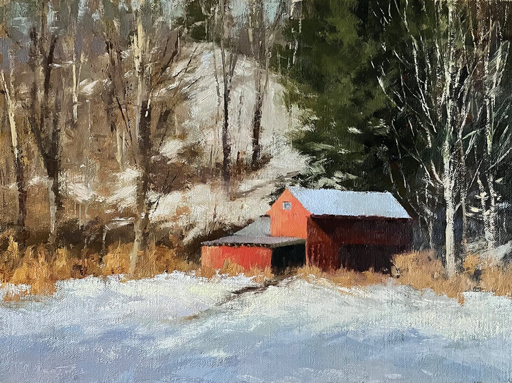 Oil painting of barn at base of hillside with snow and trees