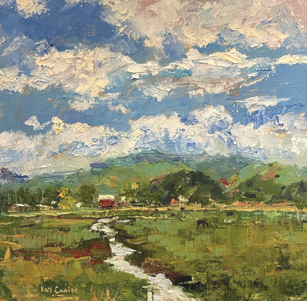 Oil painting of stream running through grassland with barn and mountain in background
