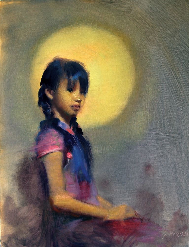 Oil painting of young girl in front of moon