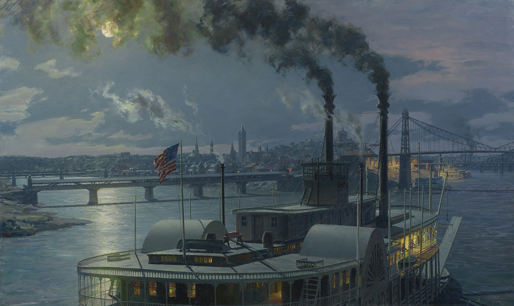 Oil painting of a steam ship arriving at port