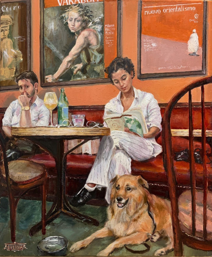 Oil painting of woman reading a book with her dog in a cafe
