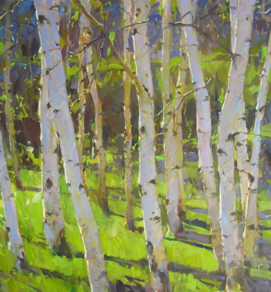Oil painting of birch trees
