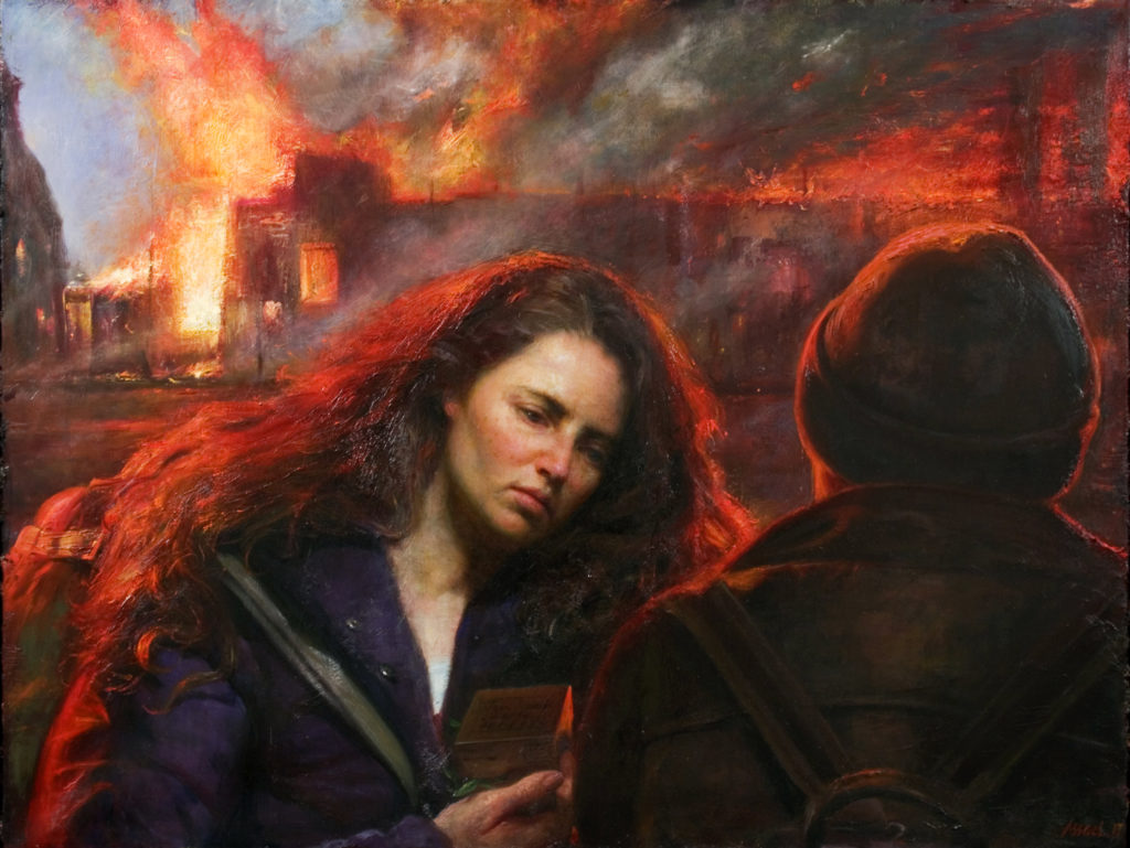 American social realism art - painting of a fire
