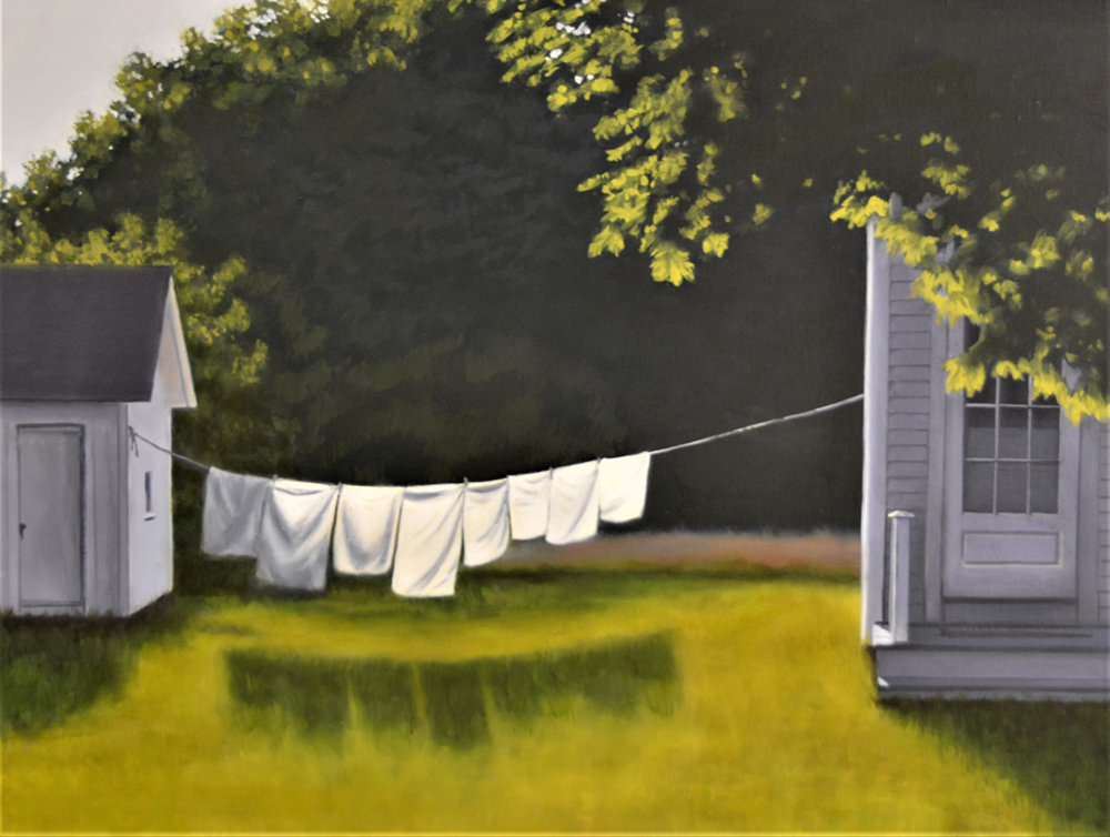 Oil painting of linens hanging on a wash line in a yard
