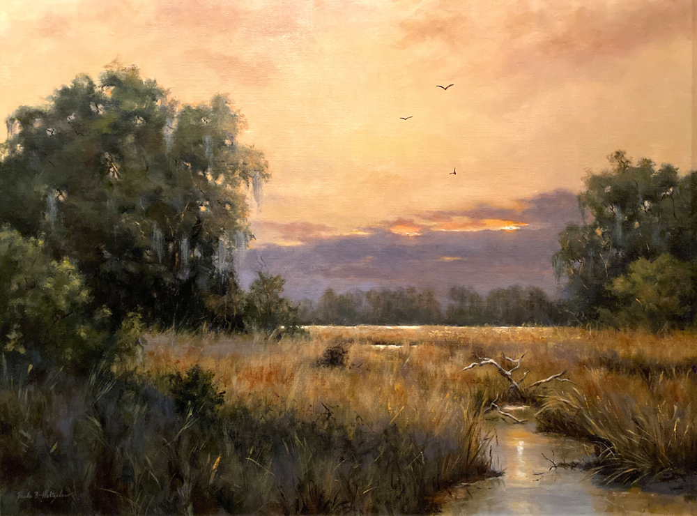 Oil painting of landscape with stream, grasses, trees and sunset