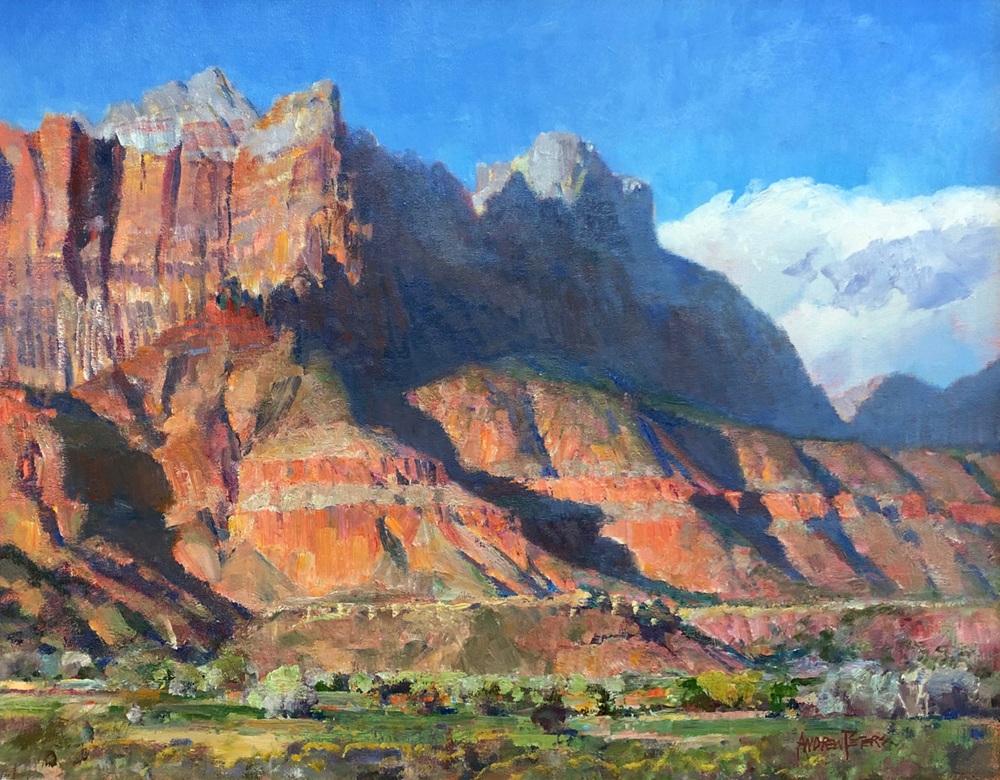 Oil painting of Zion rock formation