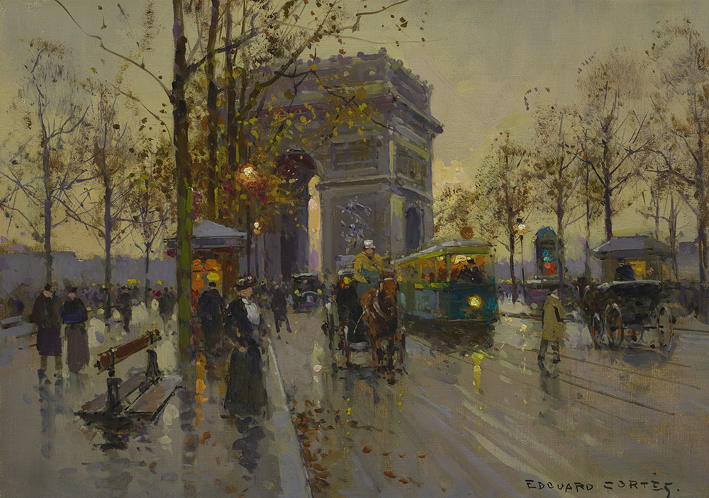 Oil painting of the Arc de Trimphe in France and a rainy city street