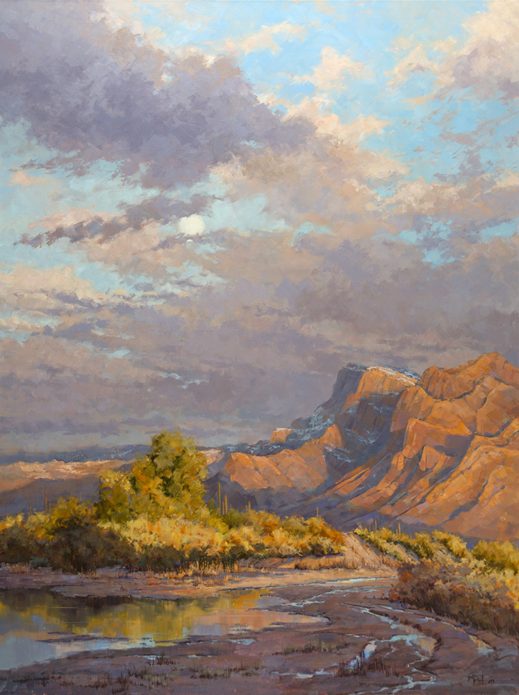 Oil painting of a desert after rain with the moon peeking through the clouds