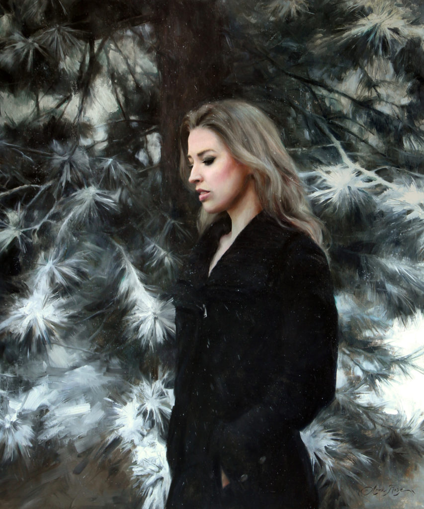Painting of a woman in winter