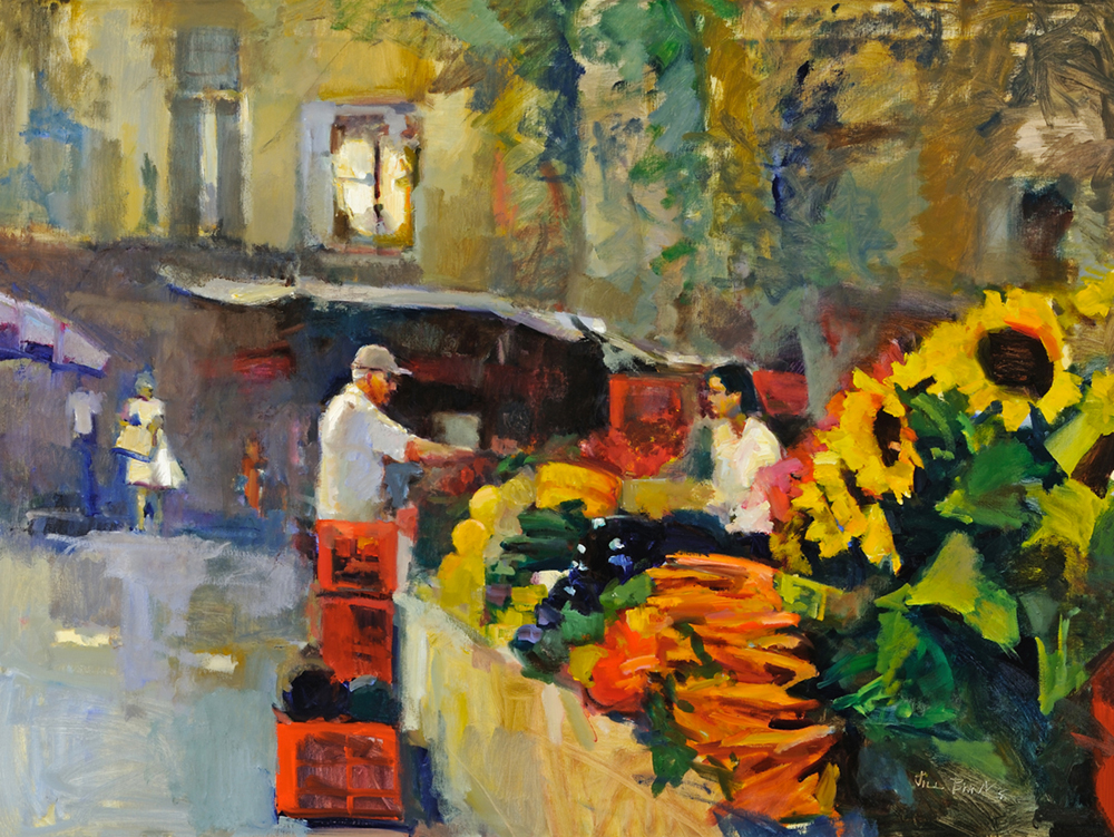 Oil painting of a man selling flowers at a flower stand