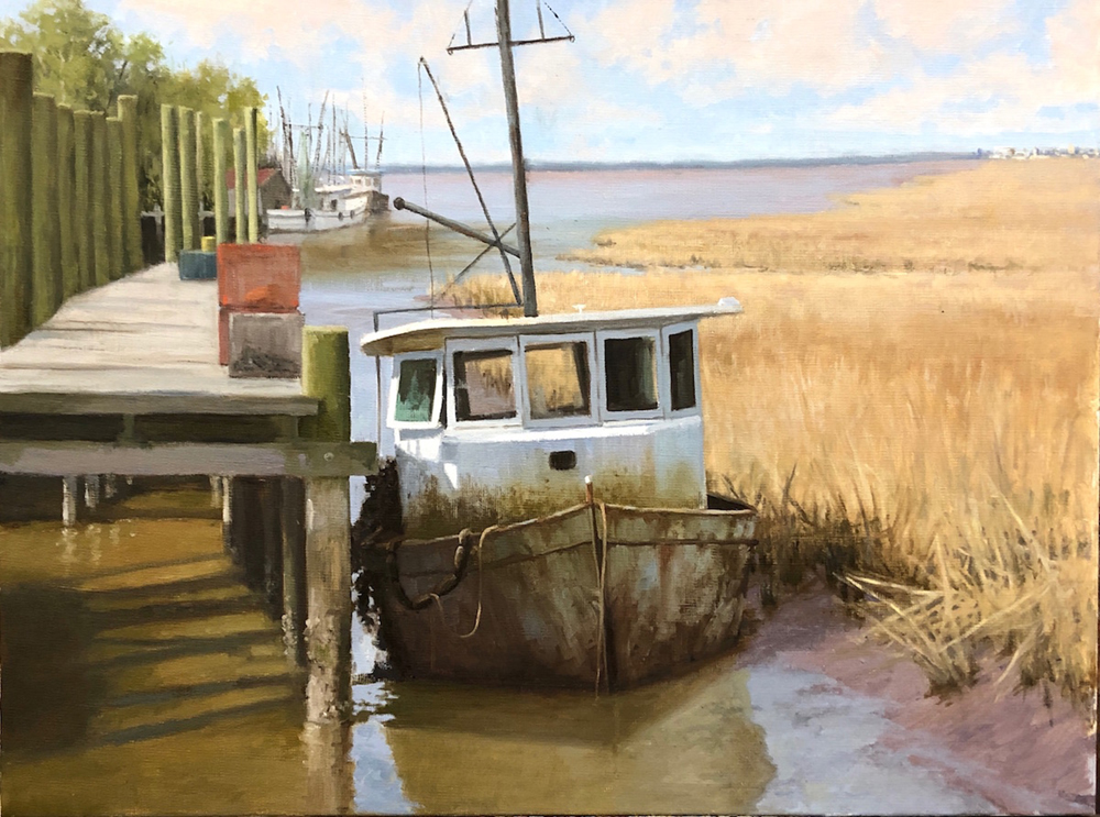 Oil painting of a boat at a dock