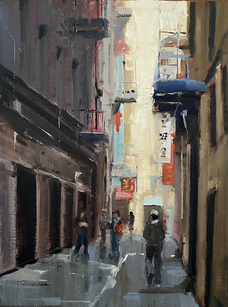 Oil painting of a downtown city street