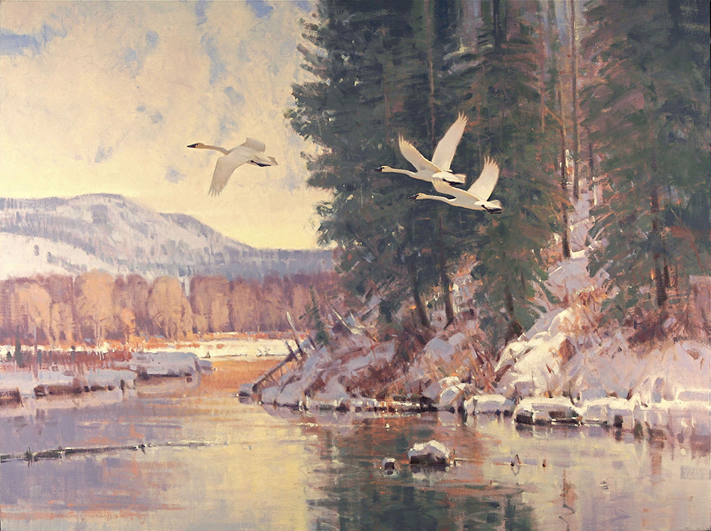 Oil painting of swans flying over a river